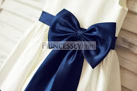 navy blue satin ribbon ivory satin flower girl dress with navy blue belt bow