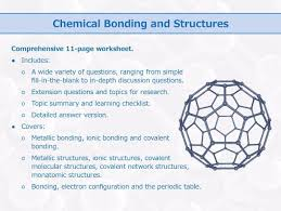 chemical bonding and structures worksheet by