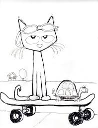 pete the cat coloring page u2013 coloring pages