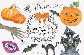 halloween wreath transparent background halloween autumn watercolor set illustrations creative market