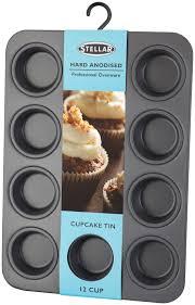 stellar audio video solutions stellar stellar hard anodised s l baking trays 12 h cupcake muffin tin or