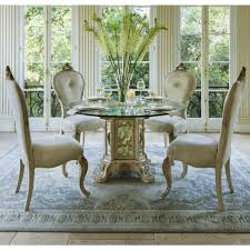 round glass top dining room table michael amini platine de royale 54