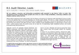 Seeking Leeds R I Audit Director Mazars Sharp Consultancy