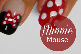 disney minnie mouse nail art tutorial youtube