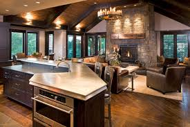 interesting simple country style open kitchen living room open