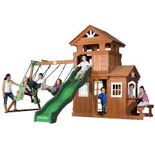 amazon com backyard discovery shenandoah all cedar wood playset