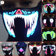 Kids Light Halloween Costume Face Mask Led Light Flashing Halloween Party Costume Dance