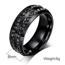 mens titanium rings hot quality black titanium steel rings men diamond jewelry rings