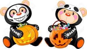 cute halloween teddy bears with costumes and treat royalty free
