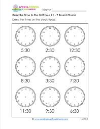 simple telling time worksheets for telling time beginners draw