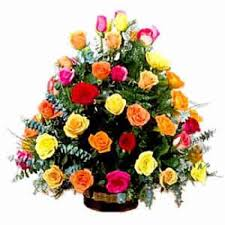 Multicolor Roses 36 Multicolor Roses Basket Online Flower Bouquet Delivery