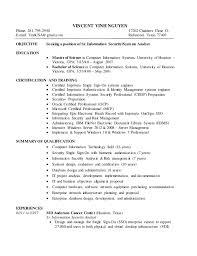 Information Security Analyst Resume Vincent Vinh Nguyen Cover Letter U0026 Resume