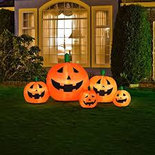 Inflatable Lawn Decorations Amazon Com Halloween Inflatable Pumpkin Family With Flashing