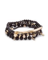 supak stretch beaded bracelet set in black kendra scott