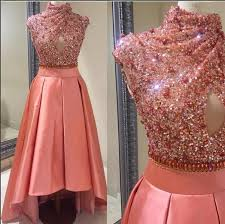 Cheap Gowns 2016 Arabic Dubai Sequined Evening Dresses High Neck Beaded
