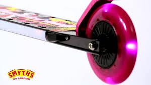 razor kick scooter light up wheels smyths toys light up pink scooter youtube
