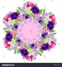 beautiful floral wreath template greeting cards stock vector