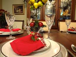 Xmas Table Decorations by Cool Christmas Banquet Table Decorations With Blue Table Cloth And