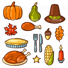 set of happy thanksgiving day objects and icons stock
