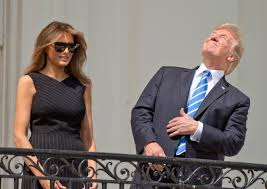 Brilliant Meme - trump stared directly at the solar eclipse without glasses on and