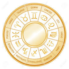 cancer colors zodiac horoscope wheel mandala with twelve gold sun signs of the zodiac
