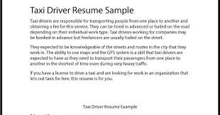 Sample Driver Resume by Great Sample Resume Taxi Driver Resume Sample