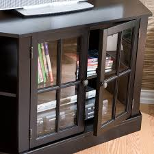 corner tv stand with double framed glass cabinet doors for books