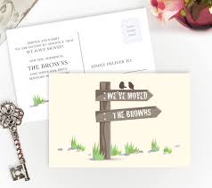 printed moving announcements with wooden sign post and birds 4x6