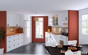 red kitchen with wood cabinets amazing natural home design