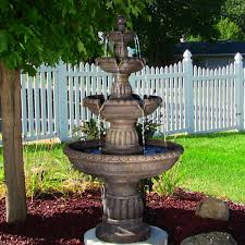 sunnydaze mediterranean 4 tiered outdoor water fountain with