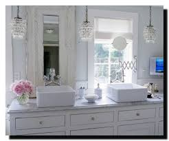 shabby chic bathroom with beautiful chandelier decorated curtain