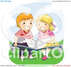 kids reading bench clipart of a happy white school boy and girl reading a book on a