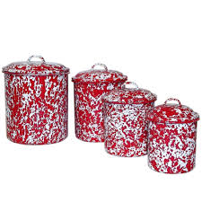 amazon com enamelware 4 piece canister set red marble kitchen