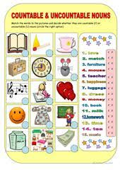 countable and uncountable nouns worksheet free esl printable
