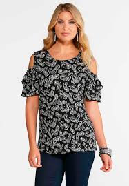 cold shoulder tops paisley ruffled cold shoulder top plus tees knit tops cato fashions