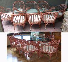 Bamboo Patio Set by Chinoiserie Patio Table And Eight Chairs Hollywood Regency Faux