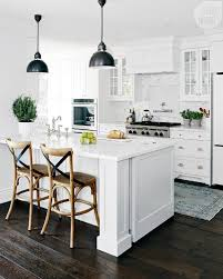 cottage kitchen decor armless metal chairs wall open shel white