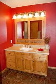 custom made oak bathroom vanity and built in medicine cabinet