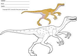 Free Dinosaur Coloring Sheets Cartoon Dinosaur Velociraptor
