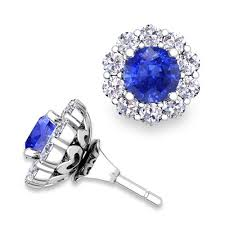 earring jackets for studs ceylon sapphire studs and halo diamond earring jackets 14k gold 5mm