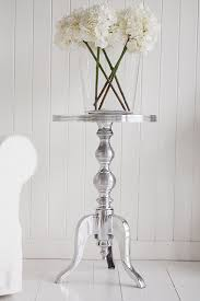 Metal Side Tables For Living Room Kensington Polished Metal Silver Side Table White And Grey