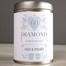 60th wedding anniversary ideas personalised tea tin diamond anniversary gettingpersonal co uk
