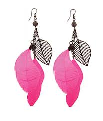 pink earrings black and pink feather dangle earring
