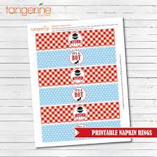 printable napkin rings bbq baby shower napkin wraps babyq shower boy napkin rings