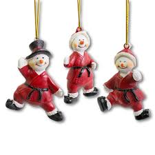 martial arts snowman ornaments karate ornament set