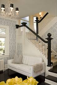 Black Banister The Wallpaper The White Paneling And The Dark Stained Wood Ooh
