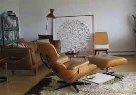 Eames Chair Living Room Mid Century Modern Living Room Brown Leather Eames Lounge Chair