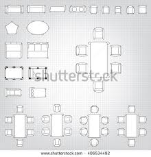 Set Design Floor Plan Standard Furniture Symbols Used Architecture Plans Stock Vector