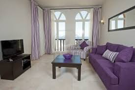 Living Room With Purple Sofa Rustic Living Room Apartment Decoration Purple Sofa Light Curtains