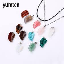 stone pendant necklace wholesale images Wholesale mix 12 pcs lot agate carving leaf shape natural stone jpg